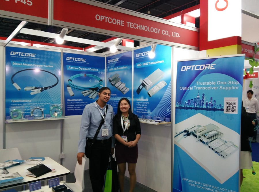 Optcore on GITEX 2015 Booth showed Fiber Optic Transceiver and Media Converters