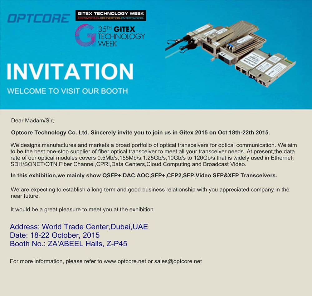 Optcore Will Attend Gitex 2015 Gulfcomms In Dubai Uae