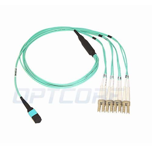 MPO Female to 4xLC Duplex 50/125 Multimode OM3 Fiber Optic Harness Cable