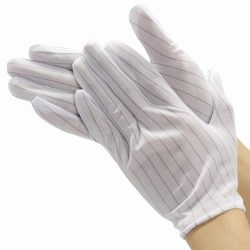 Lint Free Antistatic ESD Polyester Stripe Gloves for Cleanroom, White, 10-Pair_500